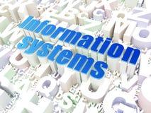 Concetto di informazioni: Sistemi di informazione sul fondo di alfabeto Fotografie Stock Libere da Diritti