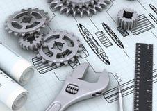 Concetto di ingegneria meccanica Fotografia Stock