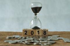 Concetto di inizio 2018 o di investimento a lungo termine di tempo di affari di anno As immagine stock