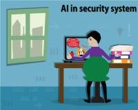 Concetto di intelligenza artificiale, AI nell'operazione di sicurezza - vecto Fotografia Stock Libera da Diritti
