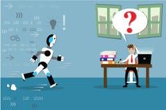 Concetto di intelligenza artificiale, robot di assistenza, essere umano d'aiuto i Fotografie Stock Libere da Diritti