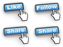 Concetto di Internet - bottoni di web con il cursore della mano Fotografia Stock