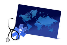 Concetto di Internet del bordo della mappa con uno stetoscopio illustrazione di stock
