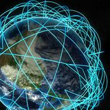 Concetto di Internet dell'affare globale e delle rotte aeree importanti basati sui dati reali Immagini Stock