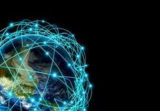 Concetto di Internet dell'affare globale e delle rotte aeree importanti basati sui dati reali Fotografie Stock