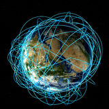Concetto di Internet dell'affare globale e delle rotte aeree importanti basati sui dati reali Fotografia Stock