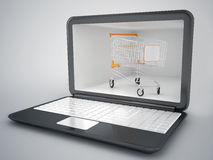 Concetto di Internet e del carrello Fotografie Stock Libere da Diritti