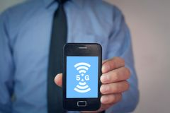 concetto di Internet 5G e della rete Internet Immagini Stock