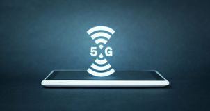 concetto di Internet 5G e della rete Internet Fotografie Stock