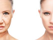 Concetto di invecchiamento e di cura di pelle Immagine Stock Libera da Diritti