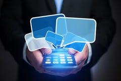 Concetto di invio del email sull'interfaccia dello smartphone con il messaggio CI immagine stock