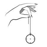 Concetto di ipnosi tenuta della mano su un orologio da tasca a catena contro di mente Fotografia Stock Libera da Diritti