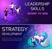 Concetto di Isometrics delle situazioni e crescita della gente di affari, lo sviluppo di strategie, di funzionamento e di carrier illustrazione vettoriale