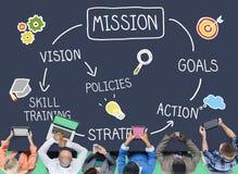 Concetto di ispirazione di azioni di formazione di abilità di missione immagine stock