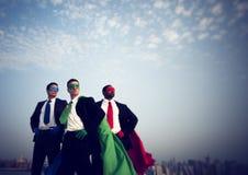 Concetto di ispirazione di New York degli uomini d'affari del supereroe Fotografia Stock Libera da Diritti