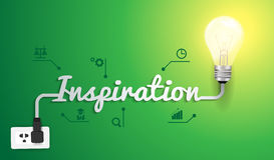 Concetto di ispirazione di vettore con l'idea della lampadina illustrazione di stock