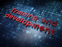 Concetto di istruzione: Addestramento e sviluppo rossi su fondo digitale Fotografia Stock Libera da Diritti