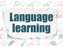 Concetto di istruzione: Apprendimento delle lingue sulla carta lacerata Immagine Stock Libera da Diritti