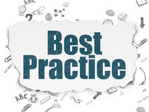 Concetto di istruzione: Best practice su carta lacerata Fotografie Stock