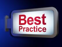 Concetto di istruzione: Best practice sul fondo del tabellone per le affissioni Fotografia Stock Libera da Diritti