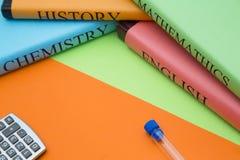 Concetto di istruzione con i libri dello studente Fotografie Stock