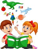 Concetto di istruzione del libro di lettura dei bambini del fumetto con la mela, il dinosauro, il pianeta Saturn, la navetta spaz illustrazione di stock