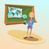 Concetto di istruzione di lezione di Hold Globe Geography del maestro di scuola Immagini Stock Libere da Diritti