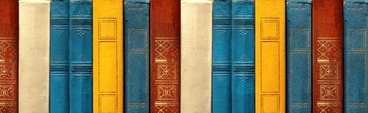 Concetto di istruzione e di conoscenza Vecchi libri rari in una fila in biblioteca, Front View Fotografia Stock