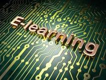 Concetto di istruzione: E-learning sul fondo del circuito Immagine Stock Libera da Diritti