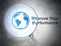 Concetto di istruzione: Il globo e migliora la vostra prestazione con vetro ottico Immagini Stock Libere da Diritti