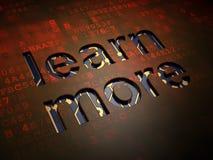 Concetto di istruzione: Impari più sullo schermo digitale fotografie stock libere da diritti
