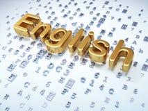 Concetto di istruzione: Inglese dorato su digitale Fotografia Stock Libera da Diritti
