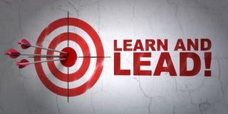 Concetto di istruzione: miri a ed impari e conduca! sul fondo della parete Immagine Stock Libera da Diritti