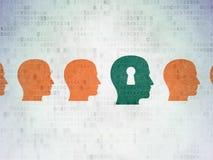 Concetto di istruzione: testa con l'icona del buco della serratura sopra Fotografie Stock Libere da Diritti