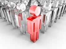 Concetto di lavoro di squadra con il capo di vetro rosso Person Fotografia Stock Libera da Diritti
