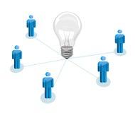 Concetto di lavoro di squadra con la lampadina Fotografia Stock Libera da Diritti