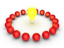 Concetto di lavoro di squadra con una lampadina al centro Immagine Stock Libera da Diritti