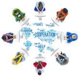 Concetto di lavoro di squadra di pianificazione del collega di affari di cooperazione Fotografie Stock