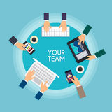 Concetto di lavoro di squadra e della rete sociale per il grafico di informazioni e di web Immagini Stock