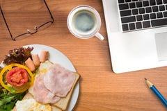 Concetto di lavoro e di cibo Fotografie Stock