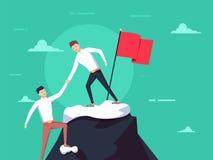 Concetto di lavoro di squadra Due uomini d'affari aumentano insieme sulla montagna con la bandiera Dia aiuto la mano Concetto di  illustrazione di stock