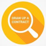Concetto di legge: Il vetro ottico d'ingrandimento con le parole elabora un contratto illustrazione di stock