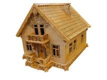 Concetto di legno del bene immobile della casa isolato Fotografie Stock Libere da Diritti