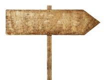Concetto di legno dello spazio in bianco di informazioni di direzione del segno della freccia Fotografia Stock Libera da Diritti