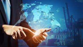 Concetto di logistica di affari, interfaccia globale di tecnologia del rapporto d'affari gobal Fotografie Stock Libere da Diritti