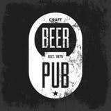 Concetto di logo del pub della birra del mestiere isolato Fotografia Stock