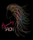 Concetto di logo del salone di bellezza con la testa astratta della scintilla della donna Immagini Stock Libere da Diritti