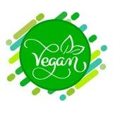 Concetto di logo del vegano Vector il segno Iscrizione scritta a mano per il caffè del ristorante Immagini Stock