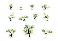 Concetto di logo dell'albero, insieme del vettore di progettazione dell'icona di simbolo di benessere della natura degli alberi