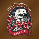 Concetto di logo della birra del mestiere di Dino di vettore Progettazione delle insegne della barra di T-rex Fotografia Stock